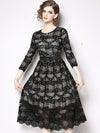 Lace Stitching O-Neck 3/4 Sleeve Pleated Hollow Out Fit Flare Dress