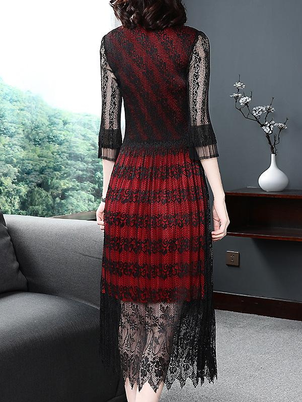Lace Stitching Hit Color V-Neck Long Sleeve Collect Waist Dress