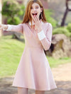 Chic Bowknot Lacing Peter Pan Collar Collect Waist A-Line Dress