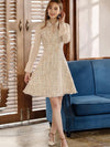 Casual Stitching Turn-Down Collar Flare Sleeve Skater Dress
