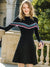 Black Knitted O-Neck Long Sleeve Ruffted Fit Flare Dress