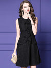 Lace Ruffled O-Neck Sleeveless A-Line Little Black Dress