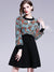 Chic Fake Two Piece Print O-Neck Puff Sleeve Shirt  High Waist Dress