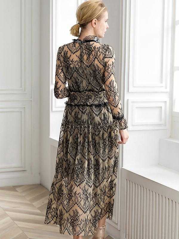 Lace Stitching Mesh Ruffled Neck Long Sleeve Maxi Dress With Braces