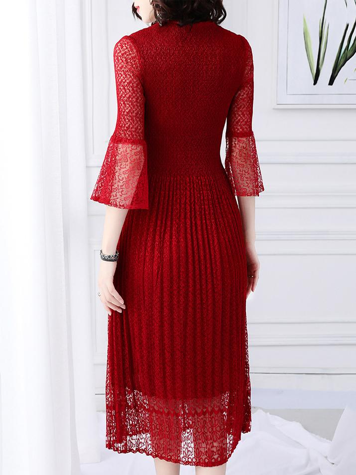 Mesh Stitching V-Neck See-Through Sleeve Pleated Dress