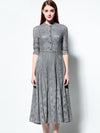 Lace Stand Collar Long Sleeve Big Hem Dress