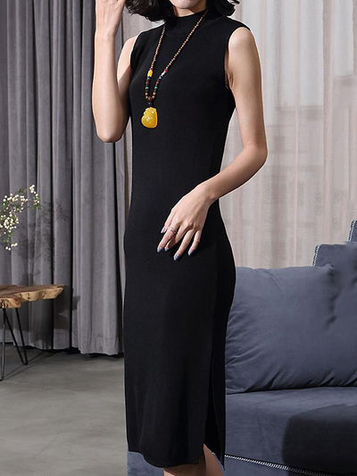 Casual Pure Color Stand Collar Sleeveless Split Dress