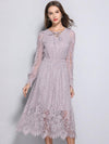 Lace Stitching V-Neck Puff Sleeve Big Hem Dress
