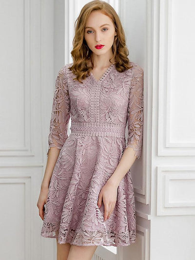 Hollow Out Embroidery V-Neck Half Sleeve Solid A-Line Dress