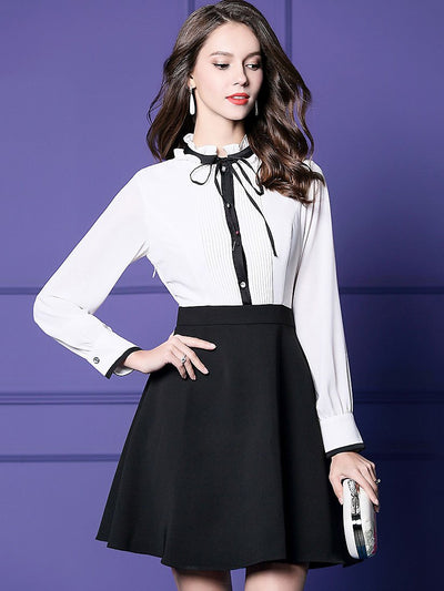 Chic Ruffled O-Neck Long Sleeve Stitching A-Line Dress
