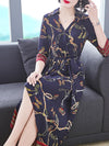 Fashion Multi Print V-Neck Half Sleeve Silk A-Line Dress