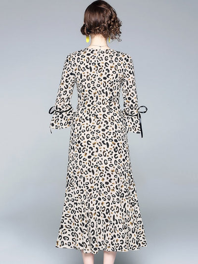 Leopard Print V-Neck 3/4 Sleeve Split Dress