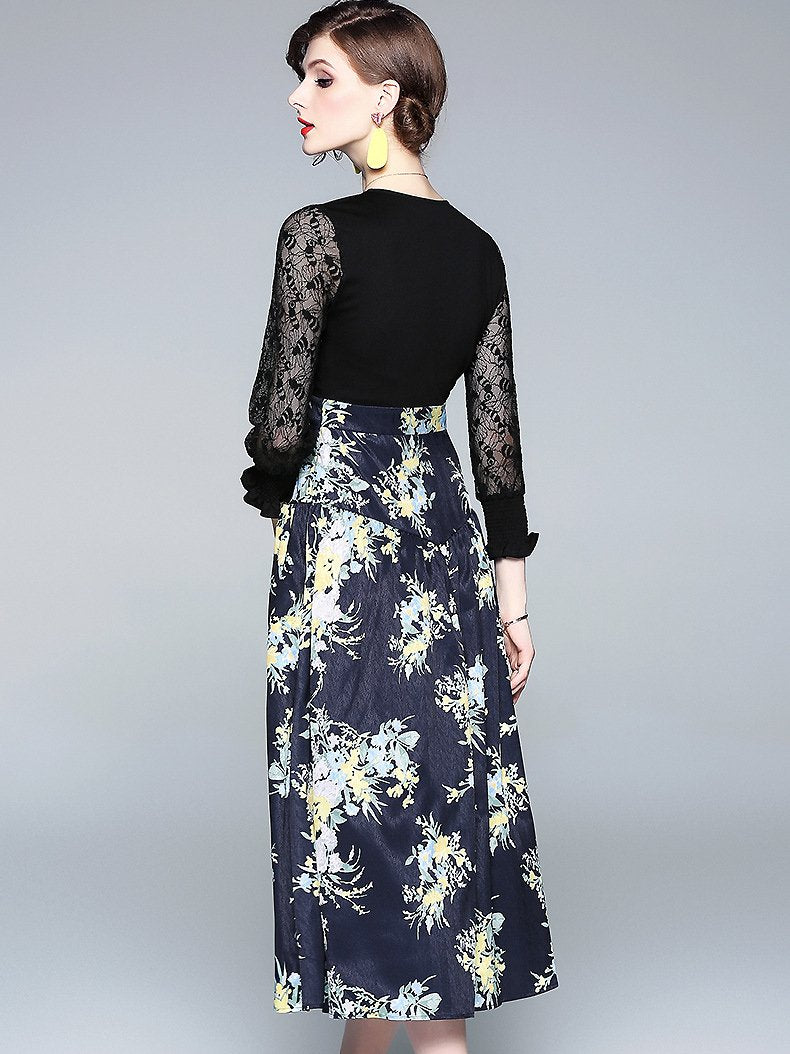Lace Stitching V-Neck High Waist Floral Dress