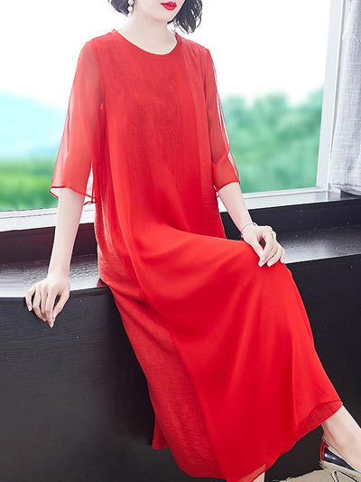 Pure Color Embroidery Slim O-Neck Half Sleeve Silk Dress