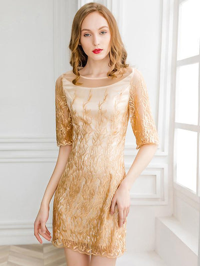 Vintage Embroidery O-Neck Half Sleeve Mini Dress