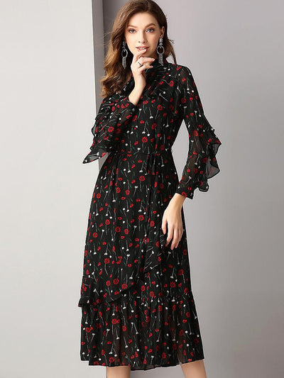 Chiffon Floral Print Falbala Long Sleeve Bow Tie Big Hem Dress