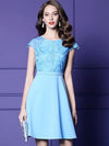 Embroidery O-Neck Short Sleeve High Waist A-Line Dress