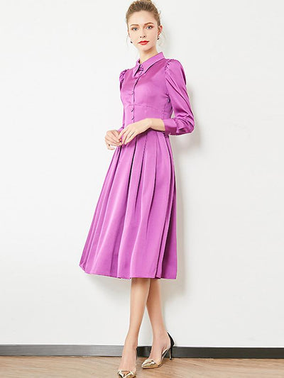 Elegant Square Neck Long Sleeve Single-Breasted Dress