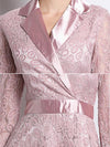 Elegant Party Lace Solid Lapel Collar Long Sleeve Big Hem Dress