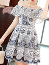 Sweet blue and white china Pattern Boat Neck Strapless Dress