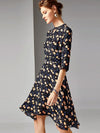 Chic Floral Print Beaded O-Neck Irregular A-Line Dress