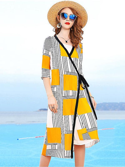 Straight Printing Holiday 3/4 Sleeve  Mulberry Silk Two Piece Dress
