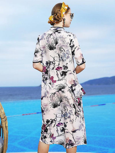 Retro Half Sleeve Stand Collar Floral Mulberry Silk Dress