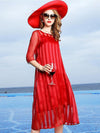 Casual Red O-Neck Short Sleeve Shift Silk Dress