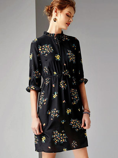 Slim Print Silk Stand Collar Half Sleeves A-Line