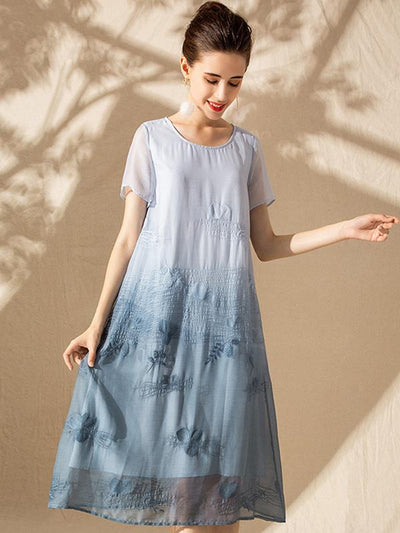 Embroidery Slim Stitching O-Neck Short Sleeve A-line Dress