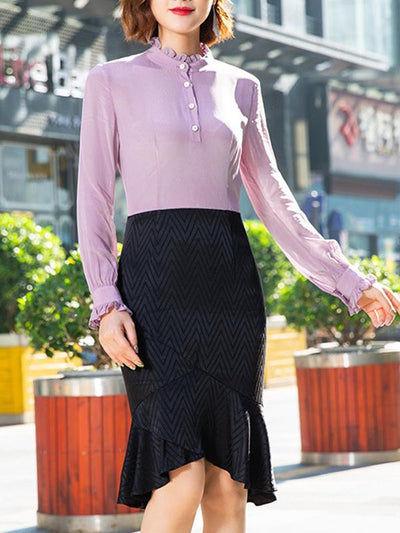 Work Fashion Pure Color Stitching Long Sleeves Stand Collar Bodycon Dress