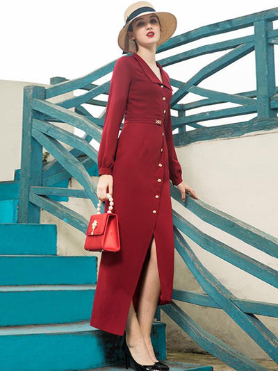 Sexy Design Red Turn-Down Collar Long Dress Maxi Dress