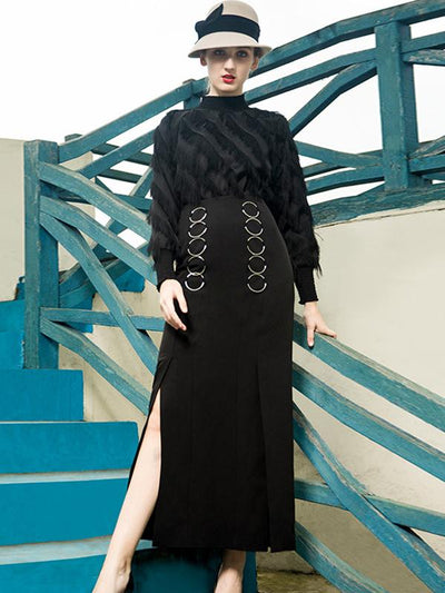 Elegent Tassels Stitching Pure Color Stand Collar Long Sleeves Sheath Dress