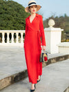 Work Red Sashes Turn-Down Collar Long Sleeves Big Hem Dress