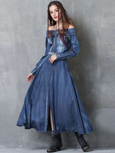 Embroidery Pure Color Denim Slash Neck Long Sleeves A-line Casual Dresses