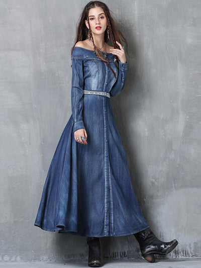 Embroidery Pure Color Denim Slash Neck Long Sleeves A-line Dress