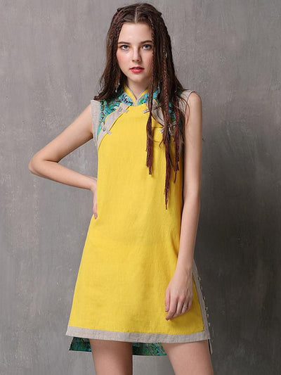 Vintage Stitching Pure Color Stand Collar Sleeves Slim Dress