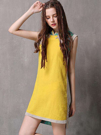 Vintage Stitching Pure Color Stand Collar Sleeves Slim Casual Dresses