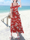Print Bowknot Slim Falbala Slash Neck Sleeveless High Weist Braces Dress