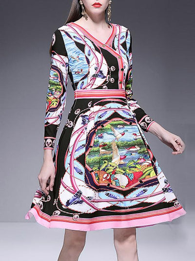 Print Elegant V-Neck Long Sleeve Multi Midi Skater Dress