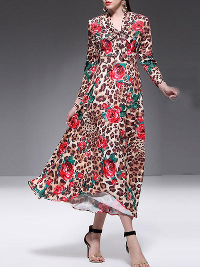 Leopard Print Sashes V-Neck Gathered Waist Long Sleeve Big Hem Dress