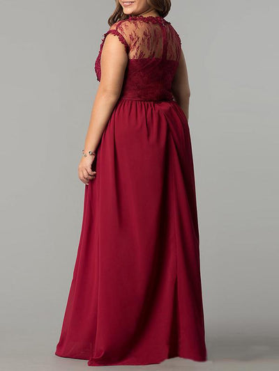 Oversize DarkRed Lace Maxi Party Dress