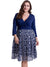 Print Stitching Lace Long Sleeve V-Neck Plus Size Dress