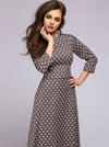 Vintage Polk Dots O-Neck 3/4 Sleeve Big Hem Dress