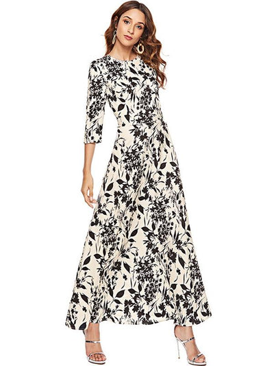Bohemian 3/4 Sleeve Slim O-Neck Beach Maxi Dress