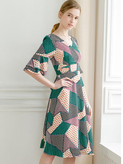 Printed V-Neck Ruffle Half Sleeve Belted Pleated Dress
