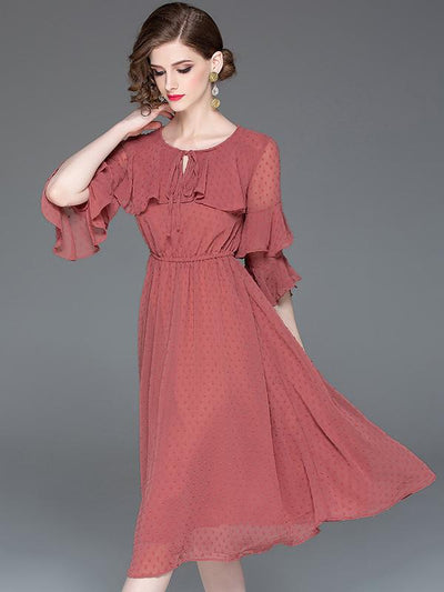 Brief Red Half Sleeve O-Neck Stitching Skater Dress