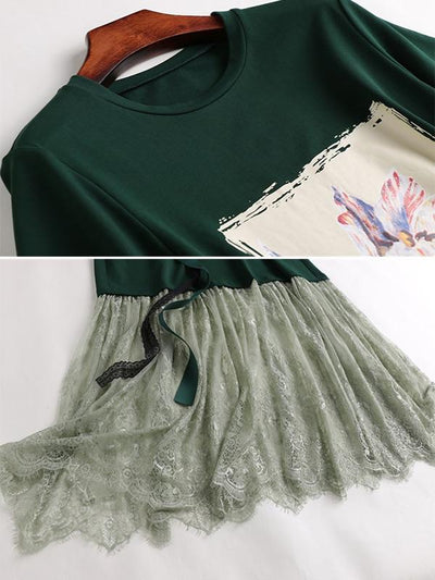 Casual Design Half Sleeve Green O-Neck Sashes Shift Dress