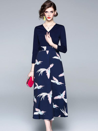 Casual Printed V-Neck 3/4 Sleeve Mid-Calf Dress