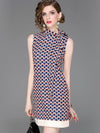 Chic Letter Printing Sashes Sleeveless Stand Collar Mini Sheath Dress